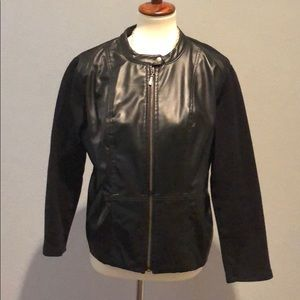 Faux leather satin lined jacket with stretchy back